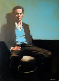 "Michael Carson ""blue Sweater"" 24"" x18"" oil on canvas"