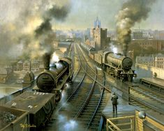 Fine art railway print by Philip D Hawkins. Viewed from the Gateshead side of the River Tyne a northbound freight headed by a 'Oribi' greets an Austerity heading south in charge of a tanker train. Steam Trains Uk, Buses And Trains, Steam Railway, Train Art, Railway Posters, British Rail, Train Tickets, Over The River, Steam Locomotive