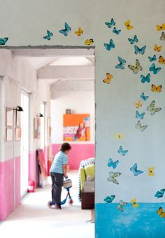 "butterfly bulletin board idea. write ""soaring high"" and combine with flowers and maybe a picket fence along the bottom"