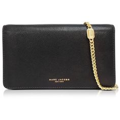 Marc Jacobs Handbags Perry Leather Wallet On Chain (€515) ❤ liked on Polyvore featuring bags, wallets, black, handbags, marc jacobs wallet, embossed leather bag, genuine leather bags, chain shoulder bag and chain bag