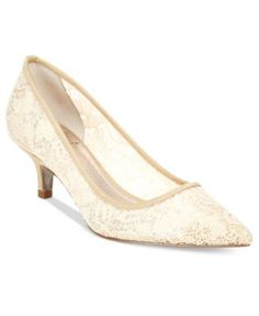 Adrianna Papell Lois Lace Pointed-Toe Kitten Heel Pumps