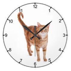Orange Tabby Cat Large Clock - cat cats kitten kitty pet love pussy