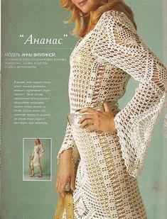 As Receitas de Crochê: Vestido de crochê com manga longa