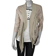 Allegra K Khaki Front Opening 3/4 Sleeve Self Tie Ladies Shirt Top XS Allegra K. $8.52