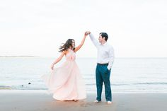 Talbot Island Driftwood Beach Engagement Session | Jacksonville Wedding Photographer | Couples | Bride & Groom | The Copper Lens | Blush Maxi Dress | Dancing