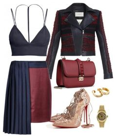 Navy and Wine color combination As Seen On:  fashionbombdaily.com The go to site for fashion inspiration.