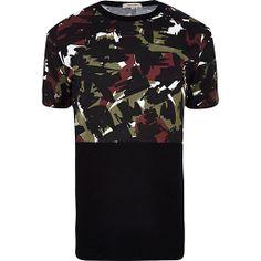 Black camo print colour block t-shirt #riverisland #rimenswear