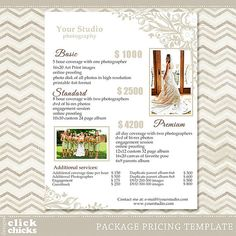 Photography Templates  Senior Photographer Price List Template