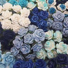 100 Mulberry Paper Flower Roses Wedding Headpiece Dolls Scrapbook Cards R8-607
