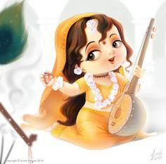 Wonderful Digital Art Illustration by Indian Artist Lovely Kukreja Shiva Art, Krishna Art, Hindu Art, Ganesha Art, Radhe Krishna, Baby Krishna, Cute Krishna, Indiana, Saraswati Goddess