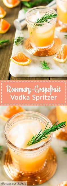 grapefruit cocktail This light and low calorie cocktail is full of seasonal citrus and fresh rosemary. Plus, this rosemary grapefruit vodka spritzer is one easy cocktail recipe. Refreshing Cocktails, Easy Cocktails, Summer Drinks, Cocktail Recipes, Cocktail Drinks, Drink Recipes, Cocktail Maker, Popular Cocktails, Shot Recipes