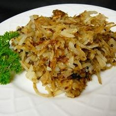 Classic Hash Browns Recipe - the secret, apparently, is rinsing well and using clarified butter. Simple seasonings -- looks great!