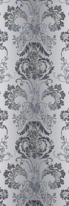 Kashgar Wallpaper A traditional damask shaded wallpaper in graphite with a contemporary metallic detail.