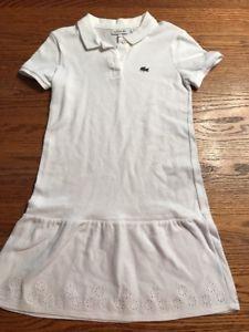 Lacoste Girls Size 10 White Short Sleeve Polo Dress EUC  | eBay
