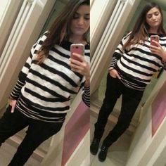 black white righe stripes shirt china tricot terranova black trousers meltinpot shoes deichmann