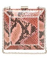 "Sondra Roberts Box Clutch. Pink snakeskin-embossed box clutch with an optional shoulder strap with 11.5"" drop. Approximately 5.75in at widest point x 5.75in high x 3in deep. $59.90 at ruelala.com"