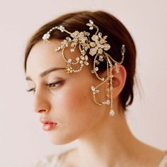 Vintage Wedding Bridal Gold Comb Crystal Pieces Hair Accessories Tiara Jewelry