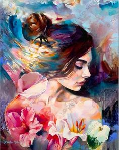 Canvas) by dimitra milan beautiful paintings, art on canvas, oil painting. Oil Painting On Canvas, Painting & Drawing, Woman Painting, People Art, Portrait Art, Beautiful Paintings, Art Oil, Love Art, Art Inspo