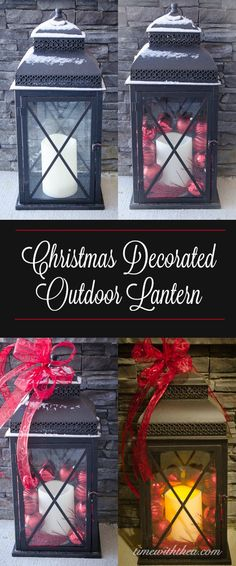Christmas Decorated Outdoor Lantern ~ Decorate a basic black outdoor lantern for the Christmas season with red sparkling sprays, ornaments and ribbon. Christmas Door, Christmas 2015, Diy Christmas Ornaments, Simple Christmas, All Things Christmas, Christmas Ideas, Xmas, Christmas Activities, Christmas Traditions
