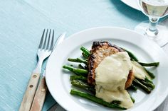 Low Carb Pork Chops with Blue-Cheese Sauce sub asparagus for green beans