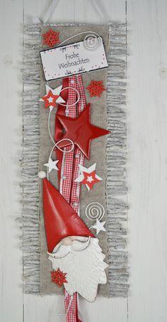 Adventskranz - Türkranz Weihnachten Rebenmatte, Weihnachtsmann - ein Designerstück von ems-floristik bei DaWanda