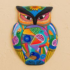 Hand-Painted Owl Ceramic Wall Ornament with Flowers - The Wisest Bird | NOVICA