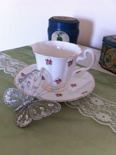 Vintage Teacup and Saucer Rosebuds, 1950's Teacup and Saucer Pink Roses. by VintageShepherdess on Etsy