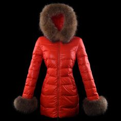 2013 New! Moncler Outlet Mari Fur Collar Women Down Coats Red [c171]