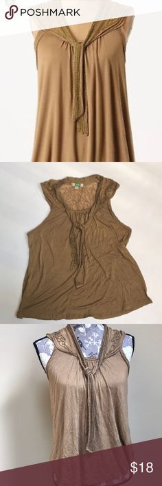 "Anthropologie Ett twa Bellini Top Anthropologie Ett twa Bellini Sleeveless Top size XS. Beautiful gold V neck top with beaded tie. Bead embellishments around chiffon back. 100% viscose- super soft.  16 1/4"" from underarm to underarm and 24"" Long. Anthropologie Tops"