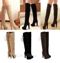 $44.79, #Boots,Soft Round Toe Lace-up Chunky Heels Boots.