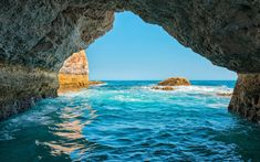Download wallpapers Algarve, sea, coast, grotto, south, Portugal, waves