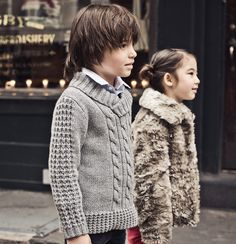 preppy kids kid girl boy cute little grey fur cardigan coat jack jacket anorak style fashion clothes