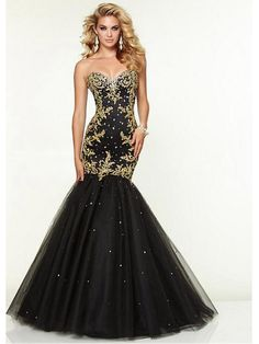 Long Black Sweetheart Gold Lace Mermaid Prom Formal Evening Dresses