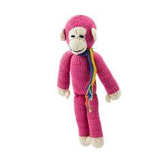 Kenana Stofftiere Affe in pink - Kenana Stofftiere - Handmade - circa 35 cm aus Baumwolle