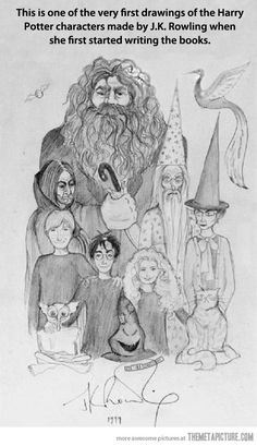 Harry Potter characters drawn by J. Rowling in 1999 With three Harry Potter books published, J. Rowling took a moment to doodle a simple pencil sketch of the series' main characters as she herself envisioned them. Harry Potter World, Memes Do Harry Potter, Mundo Harry Potter, Harry Potter Fandom, Harry Potter Characters, Harry Potter Sketch, Fictional Characters, Hogwarts, Joanne K Rowling