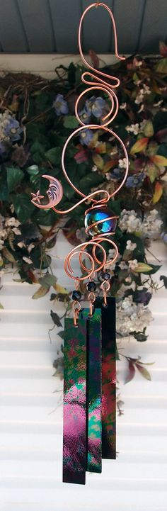 Moon Wind Chimes Copper Garden Art Sculpture Stained Glass Windchime Outdoor/Pond/Lawn/Yard on Etsy, $29.99