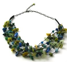 Green and Blue Multistrand Stones Necklace by Franca&Nen on Etsy $18.00 #stonejewelry #handmadejewelry #stonenecklace #jewelry #greennecklace