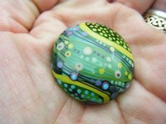 Moogin Beads- Extra large abstract lentil shaped focal bead-turquoise and green - 31mm Lampwork glass- SRA by mooginmindy on Etsy