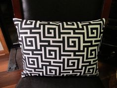 £12.83. Greek Maze 12X16 Designer pillow cover.  It's made from a home decor print fabric. The back and front is out of a the cotton canvas print. A zipper closure is used for easy removal for cleaning or changing the for the seasons.