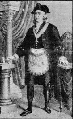 Benjamin Franklin in his freemasonry uniform