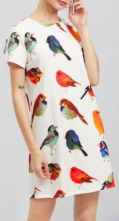 Allover Bird Print Dress