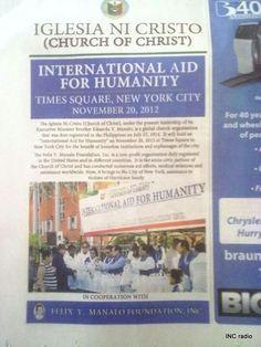 Iglesia ni Cristo International Aid for Humanity Times Square New York City USA #kabayankokapatidko