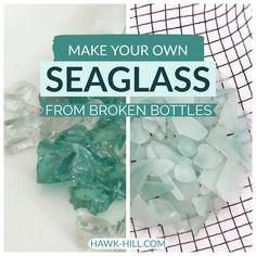 DIY: How to make your own sea glass at home - Hawk .- DIY: So stellen Sie Ihr eigenes Seeglas zu Hause her – Hawk Hill DIY: How to Make Your Own Seaglass at Home Hawk Hill - Sea Glass Crafts, Sea Glass Art, Seashell Crafts, Beach Crafts, Sea Glass Jewelry, Stained Glass, Sea Glass Decor, Sea Glass Beach, Broken Bottle