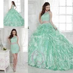 2016 Mint Two Piece Quinceanera Dresses Ball Gown Detachable Train Lace Crystals Jewel Cocktail Gowns Sweet 16 Debutante Party Prom Dresses Online with $145.14/Piece on Sweet-life's Store   DHgate.com