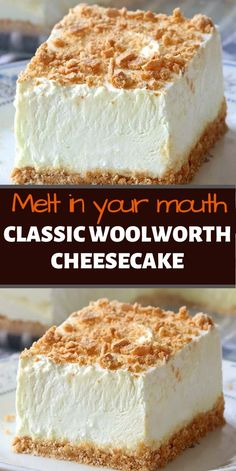 No Bake Woolworth Cheesecake is a classic, light and lemony dessert and will be the perfect addition to your Easter or Mother's Day menu! # no bake Desserts No Bake Classic Woolworth Cheesecake Brownie Desserts, Oreo Dessert, Mini Desserts, Cheesecake Desserts, No Bake Desserts, Easy Desserts, Woolworth Cheesecake Recipe, Homemade Cheesecake, Cheesecake Bites