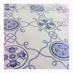 Original patterned laser cut fabric inspired by azulejos. Print designed by @aquinodasilva, layout by @akina_lei at  Salut, ça va?