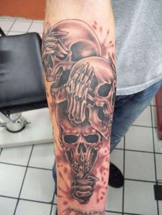Evil Tattoo Designs for Men Evil Skull Tattoo, Evil Tattoos, Skull Sleeve Tattoos, Scary Tattoos, Badass Tattoos, Love Tattoos, Body Art Tattoos, Tattoos For Guys, Chicanas Tattoo