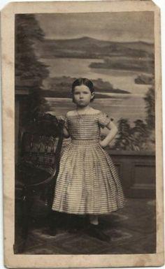 1860 Cute Little Girl Off Shoulder Check Dress by Egbert Lindsted Davenport IA | eBay