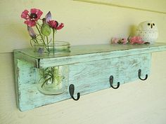 Rustic wood shelf, distressed shabby chic, Aqua Mason jar wall decor by SouthernWood on Etsy https://www.etsy.com/listing/91867719/rustic-wood-shelf-distressed-shabby-chic