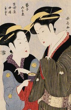 Momokawa Choki, Double Half-Length Portrait of Moto, a Maidservant of the Yoshidaya and the Geisha Mizue, ca.1780-1808 | Flickr - Photo Shar...